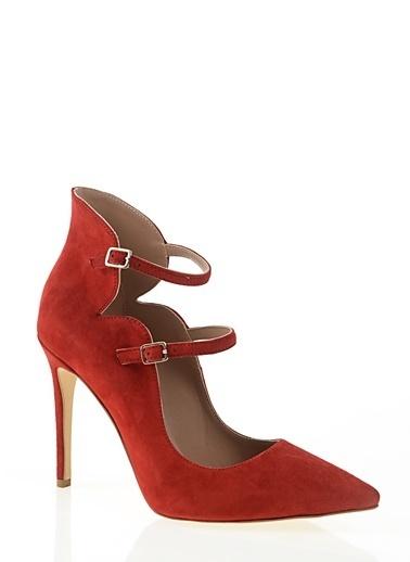 Nemesis Shoes Nemesis Shoes Birinci Sınıf Deri Bilekten Bağlamalı ince Topuk Süet Kadın Topuklu Ayakkabı Kırmızı
